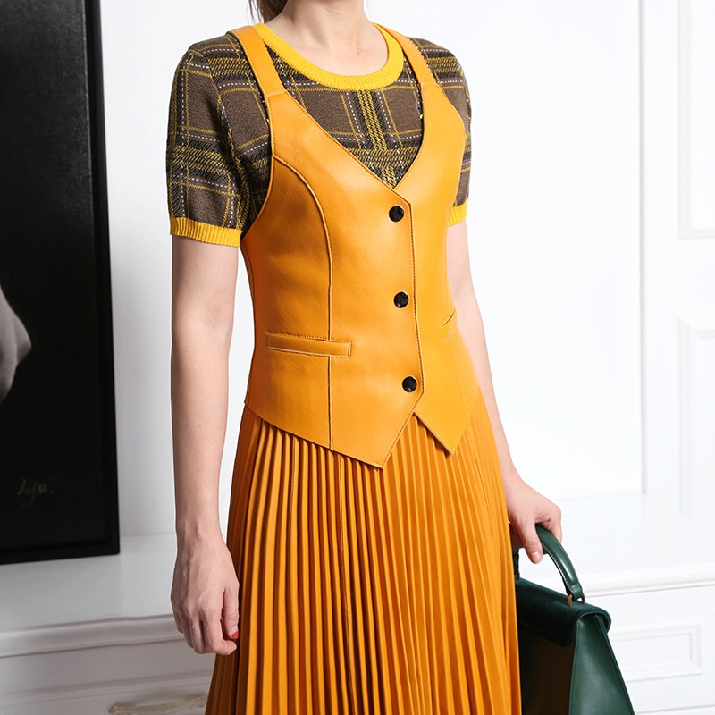 2021 New Arrival Womens Fashion Genuine Leather Vest