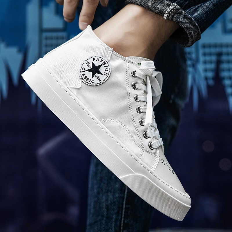 New stylish comfortable casual shoes Korean version of all-match high-top shoes men's trendy brand b