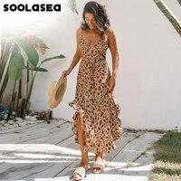 soolasea new summer women print leopard long dress sexy v neck sleeveless button ruffles beach casual boho maxi dress vestidos