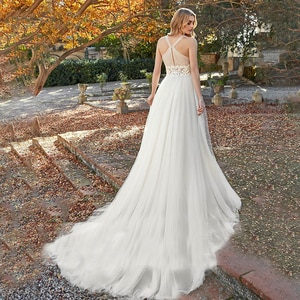 Deep V Neck Boho Beach 2021 Wedding Dress CrissCross Ruched Tulle Lace Bohemian Appliqued Bridal Gowns Custom Made Free Shipping