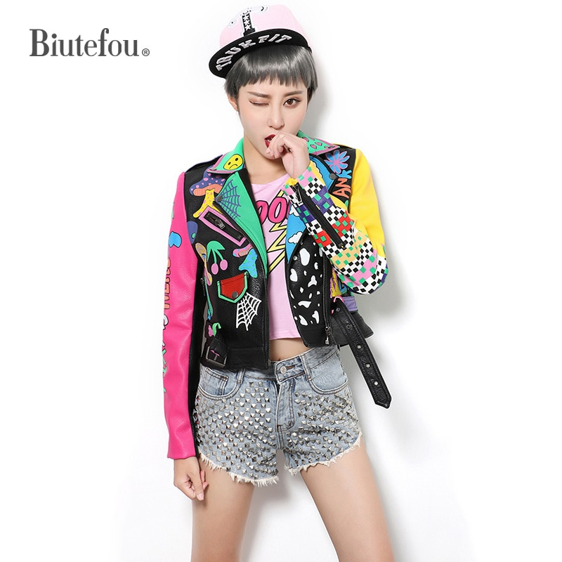 2021 Spring Women Short Multicolor Graffiti Print Motorcycle Leather Jacket