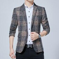 2019 Marca de roupa Masculina outono slim fit plaid Negócios jaquetas pequenas terno/homens de Alta qualidade de algodão puro Lazer blazers S-5XL