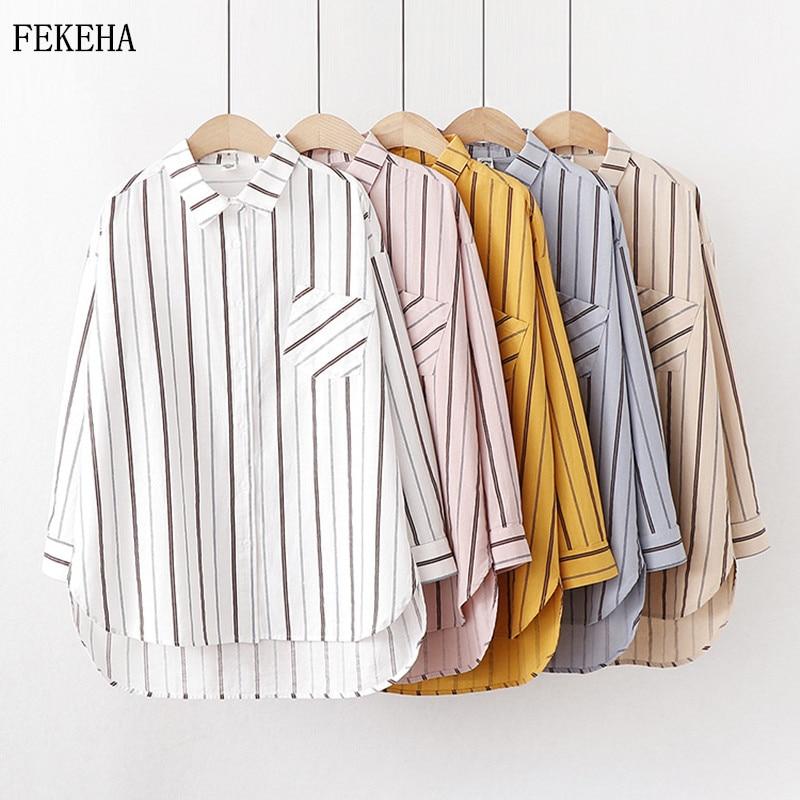 Blusa blanca de manga larga a rayas de otoño para mujer, Blusa femenina informal de algodón de alta calidad para mujer
