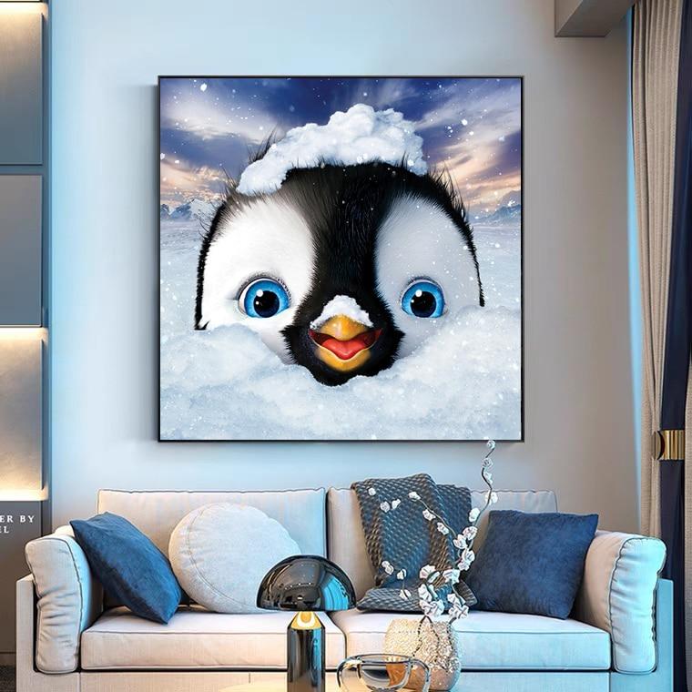 GMAIL New Full Diamond Diamond Painting Living Room Penguin Mosaic Embroidery Diamond Decoration Painting 2021