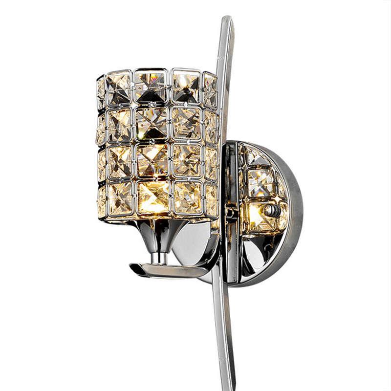 Moderne Kristall Wand Lampe Leuchte E27 Bett Zimmer Treppen Gang Kronleuchter Wand Leuchte Schatten Für Home Decor Leuchte, silber