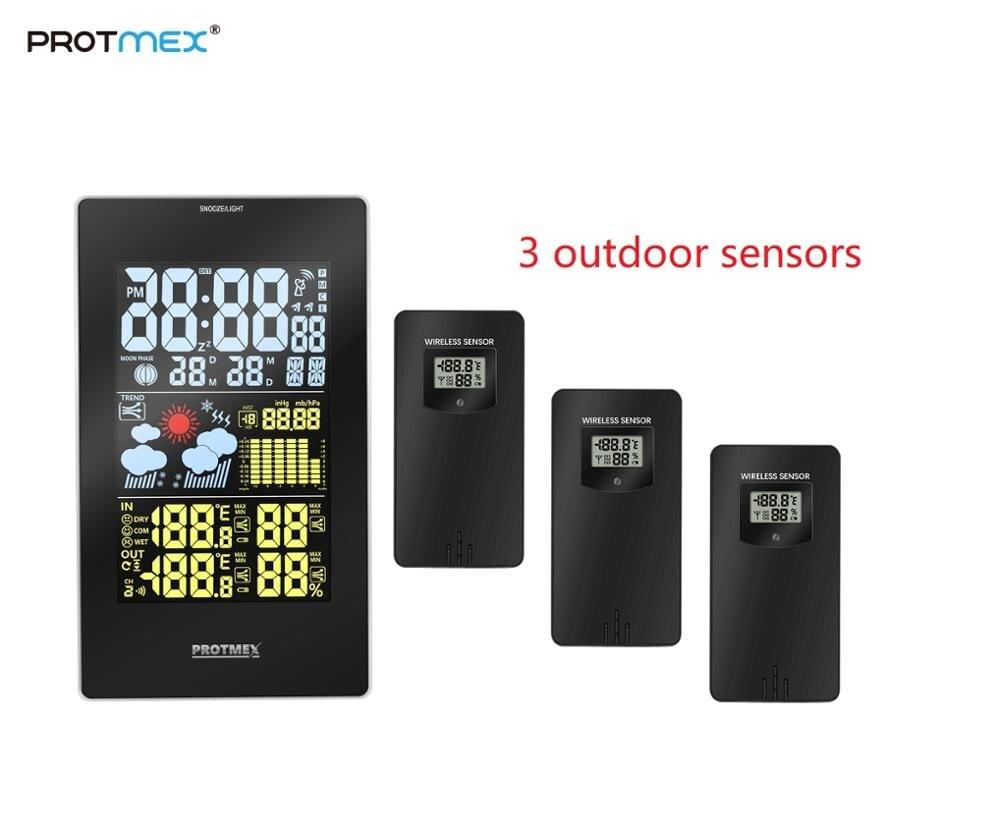 PROTMEX Wireless RCC Weather Station Temperature Humidity Sensor Colorful LCD Display Forecast Clock add sensor