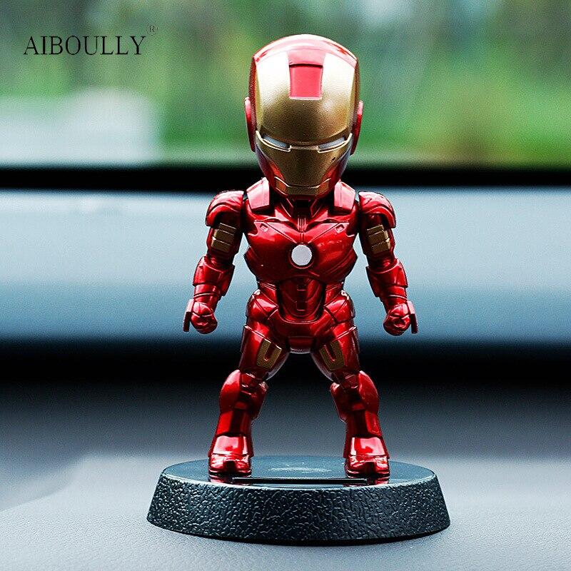 2017 Q Version Action Figure Superhero Iron Man Black Panther PVC Figure Solar Energy Shake head Toy 12cm Chritmas Gift Toys