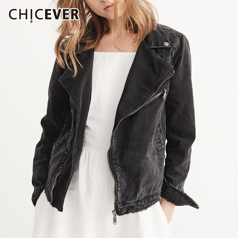 CHICEVER Solid Patchwork Denim Jackets For Women Lapel Long Sleeve Zipper Black Clothing Casual Female Fashion New 2021 Tide