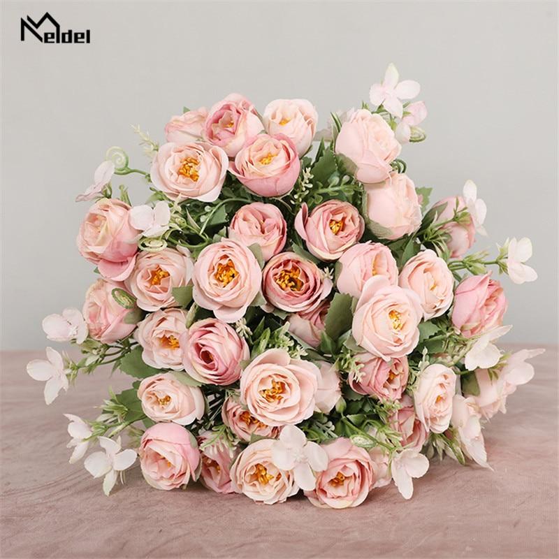 10 kepala bunga buatan bunga mawar pengiring pengantin 5 cawangan - Aksesori perkahwinan - Foto 2