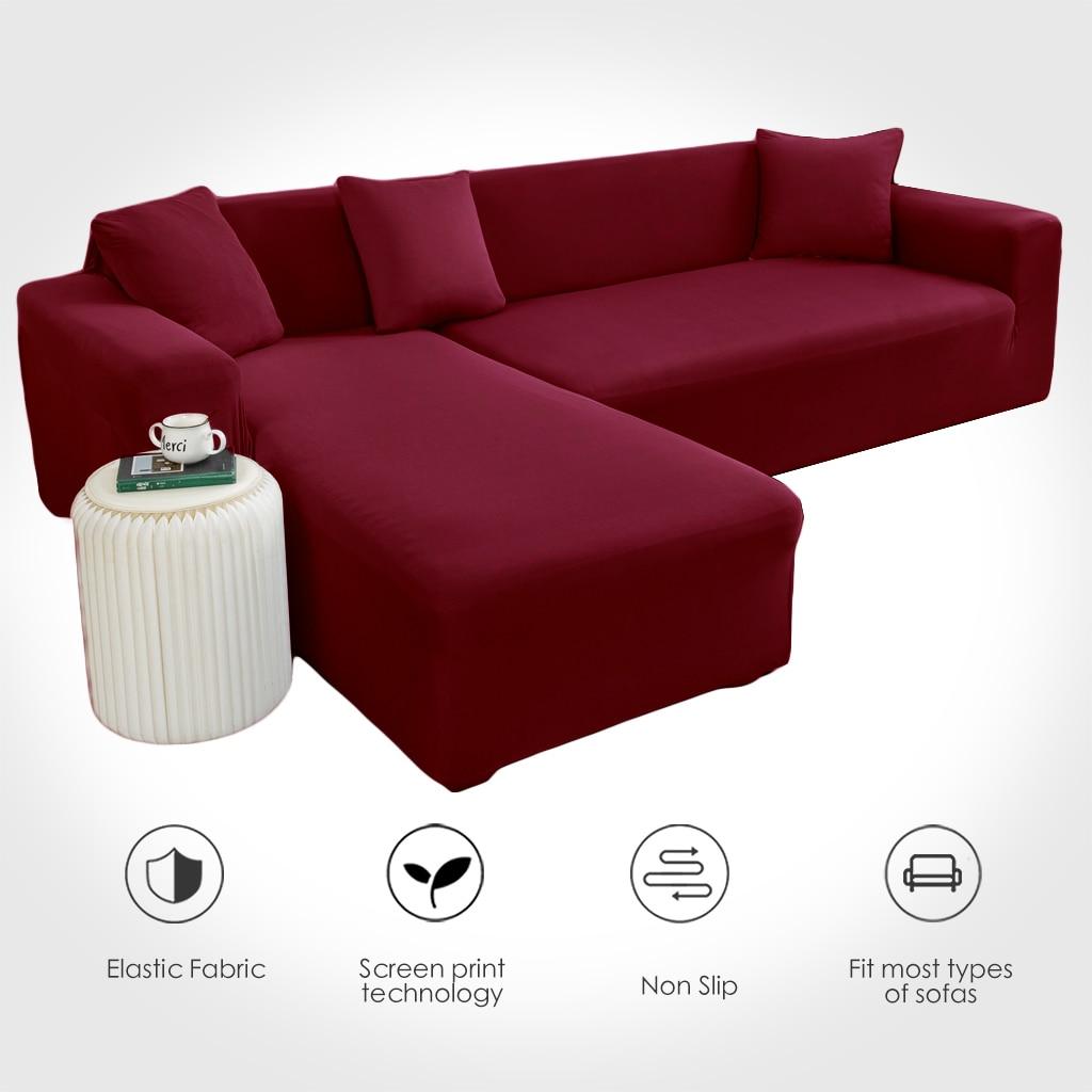 Sofa Cover Spandex Solid Color Elastic Corner Sofa Need 2 Pieces Sofa Cover Living Room 1/2/3/4 Seater