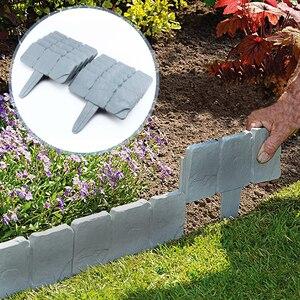 20 pcs Grey Stone Effect Lawn Edging Plant Bordering  Cobblestone Garden Border Flower Bed & Grass Decor Effect