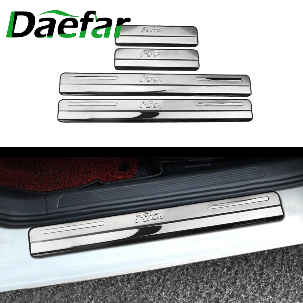 Daefar For Ford Focus 2 Focus 3 Mk3 Door Sill Plate Door Scuff Cover Kick Step Trim Protector Molding Car-styling Accessory sansour 4pcs car door inside sill covers door step sill trim cover pads for jeep grand cherokee 2011 2015