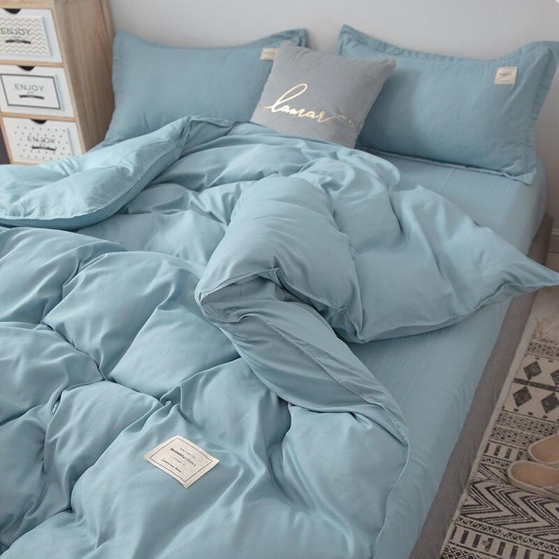 الشمال طقم سرير بسيط ملايات ناعمة حاف غطاء لحاف المخدة أغطية سرير ل ملكة واحدة الحجم الكامل الصلبة المنسوجات المنزلية