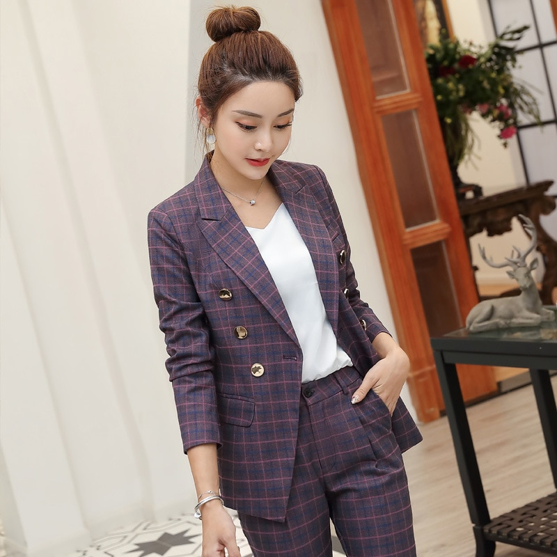 High quality professional women's suits large size S-4XL 2021 autumn and winter new slim full-sleeve blazer Slim trouser suit