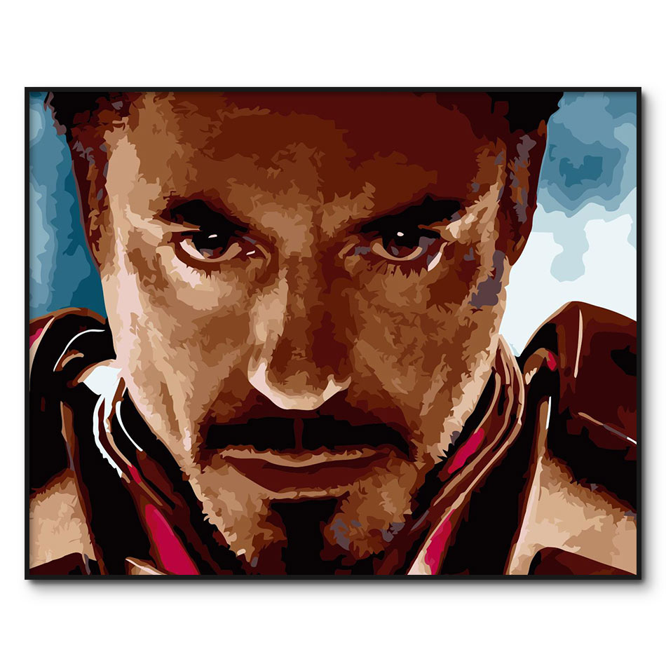 Hombre de Hierro pintura por números enmarcado Pepper Potts lienzo pintura por número Robert Downey DIY dibujo al óleo por números Kits para adultos