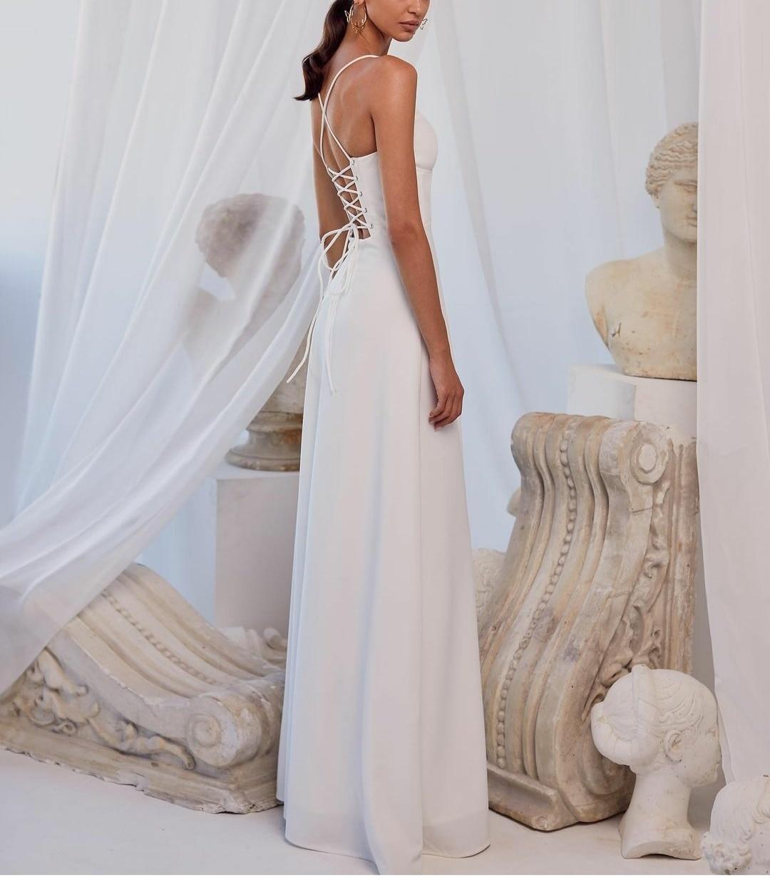 Elegant Long Spaghetti Satin Wedding Dresses with Pockets A-Line Corset Back White Brautkleider Robes de Soirée for Women