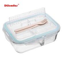الكورية نمط صندوق الغداء الزجاج الميكروويف بينتو صندوق تخزين المواد الغذائية حاويات المواد الغذائية المدرسية مع مقصورات للأطفال