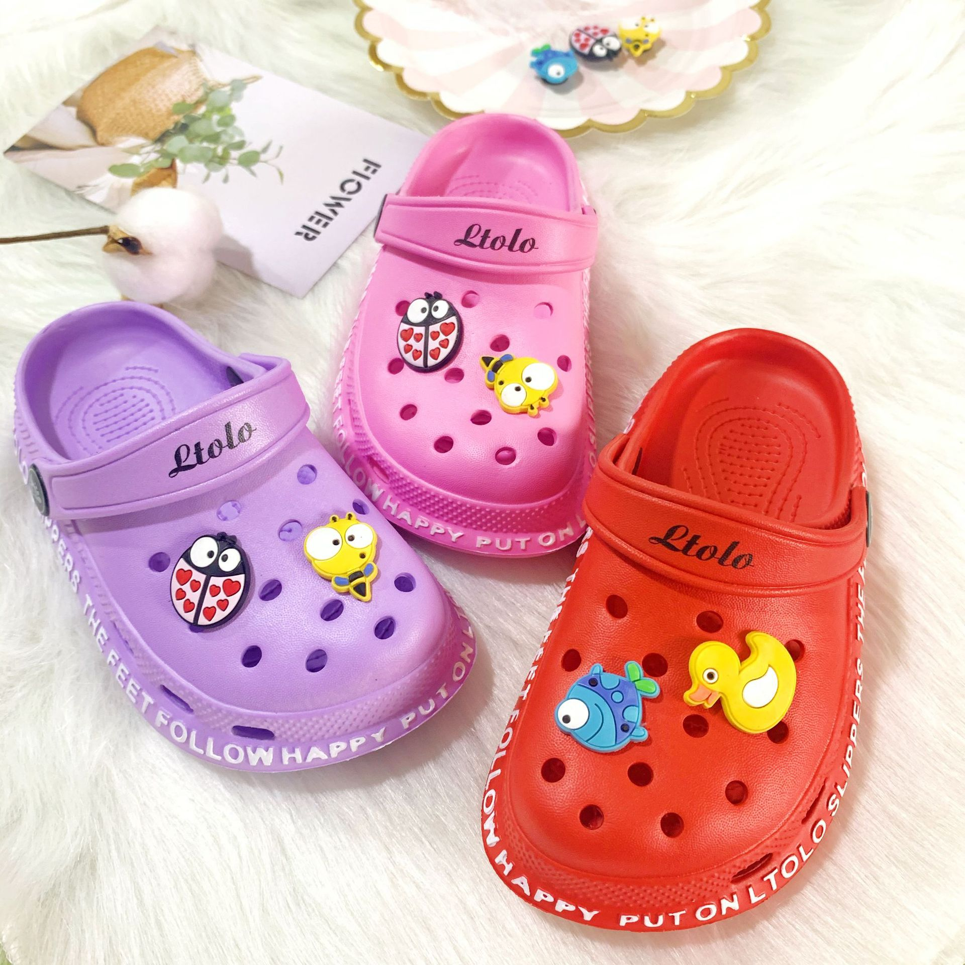 GIRL BABY KIDS SUMMER TODDLERS CAVE SHOES MULES CROC CHILDREN BEACH SANDALS SLIPPERS FOR GIRLS23 24 25 26 27 28 2 30 31 32 33 34