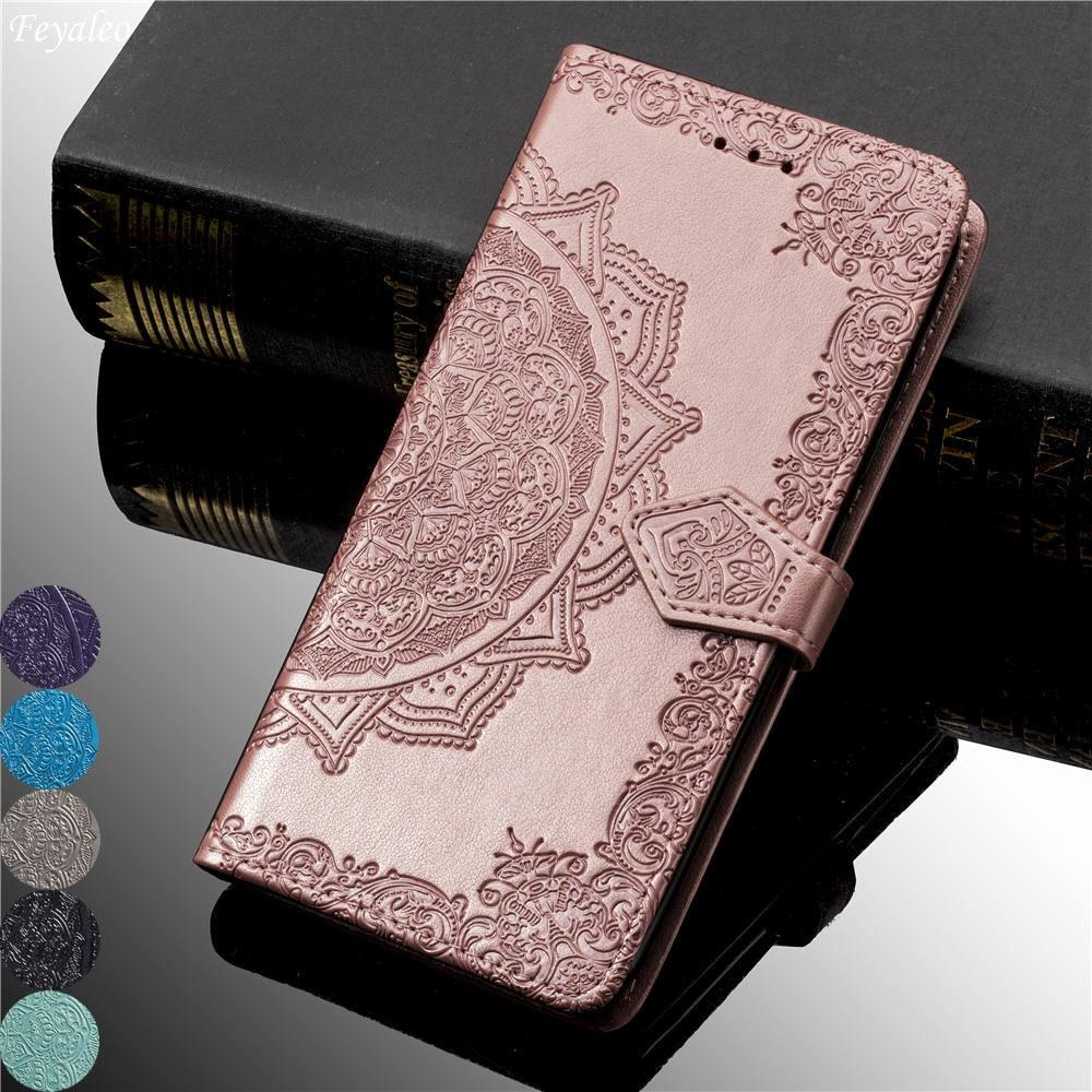 Para iPhone 11 Pro XS Max XR de la caja del teléfono de cuero en relieve flor iPhone X XI Pro 5 5S SE 6 6S 7 8 Plus funda de bolsa de cartera fundas con tapa
