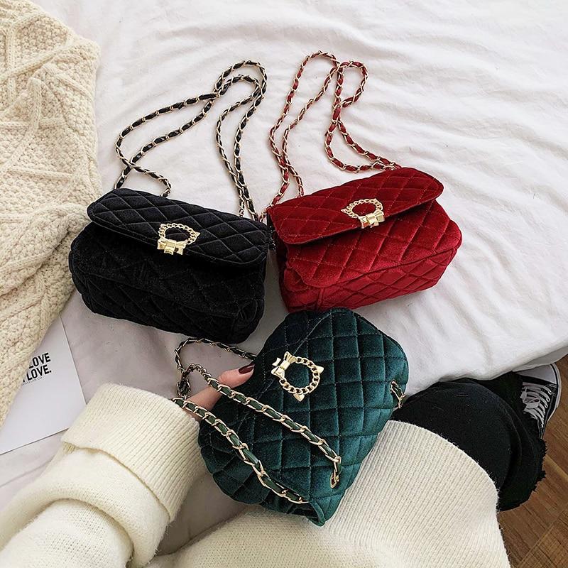 Veludo crossbody saco para as mulheres mini moda saco do mensageiro retro noite bolsa de ombro sacos de corrente pequena bolsa feminina bols