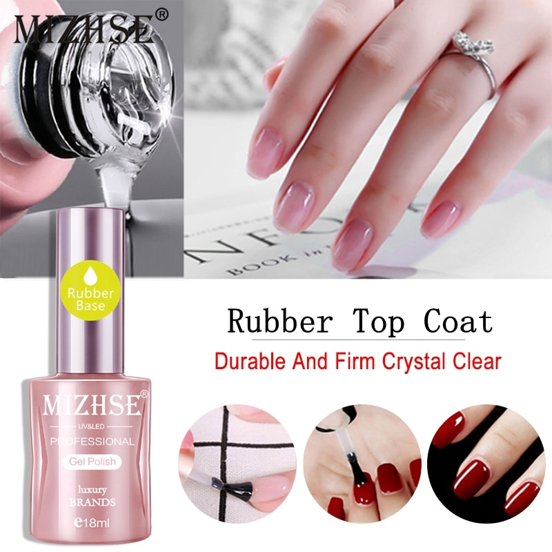 MIZHSE Varnish Primer Soak Off UV LED Gel Nail Polish Base Coat Matte Top Coat Rubber Base&Top Long Lasting Nail Art Manicure