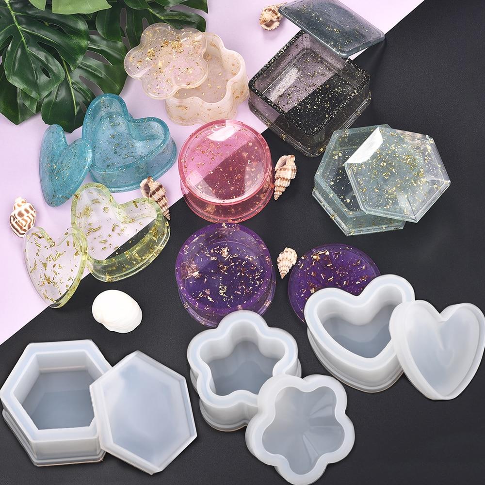 Harz Silikon Mold Lagerung Box Form Für Schmuck Machen Herz Form Cut Mold DIY Kristall Epoxy UV Geschenk Box Schmuck werkzeuge Formen