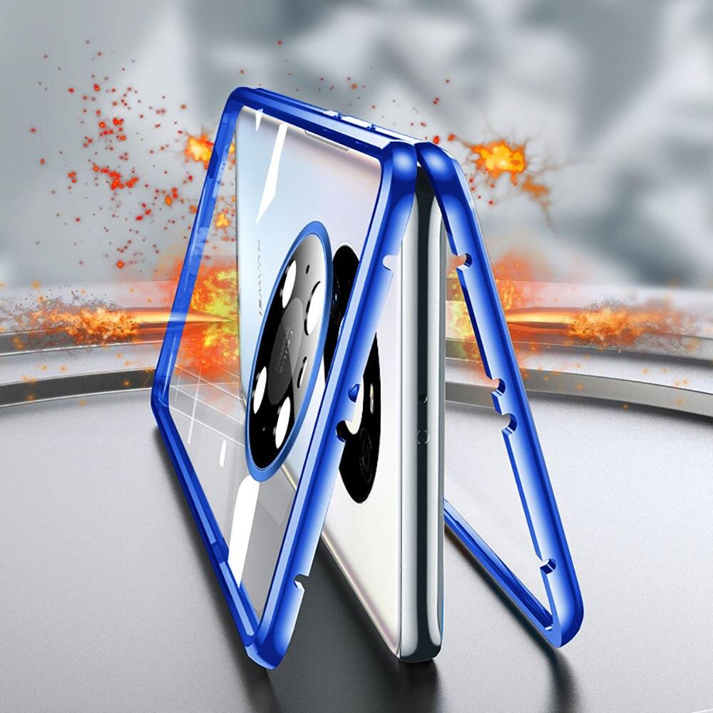 غلاف زجاجي مغناطيسي على الوجهين لهاتف Huawei Mate 20RS 30 40 RS 40 P40 Pro ، غطاء معدني من الألومنيوم 360 درجة ، حماية للعدسة