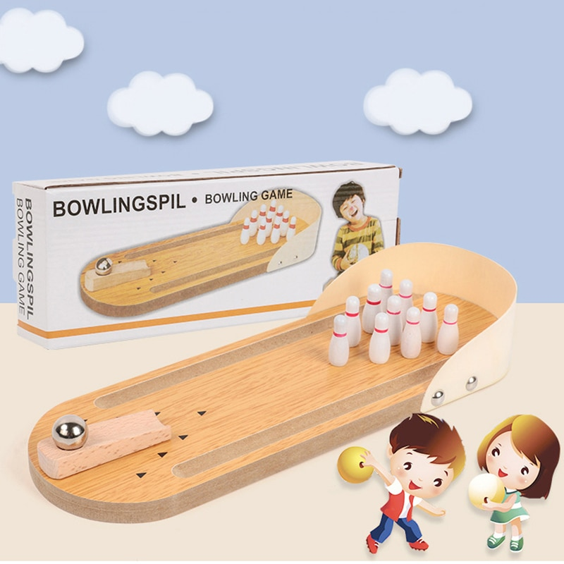 Child Toys Wooden Mini Desktop Bowling Game Toy Set Fun Indoor Parent-Child Interactive Table Game Bowling Developmental Toy large mahjong portable wooden boxes set table game mah jong travelling board game indoor antique leather box english manual