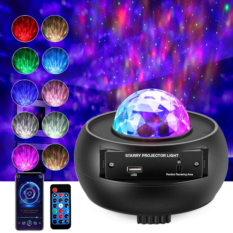 Romantic Starry Sky Galaxy Projector Nightlight Child Blueteeth USB Music Player Star Night Light Colorful Projection Lamp Gifts