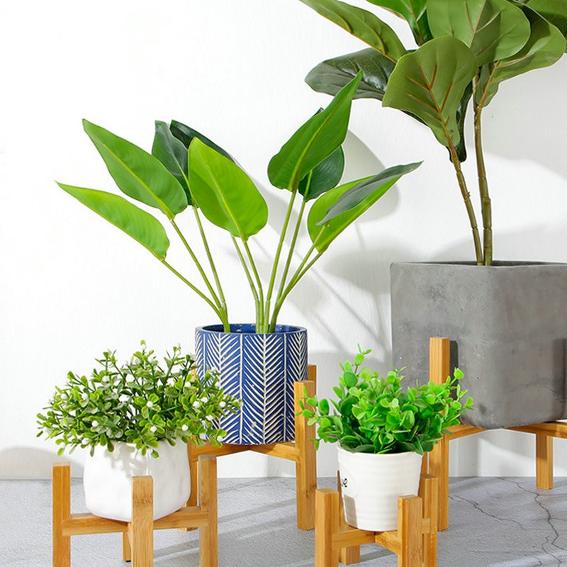 Flower Stand Free Standing Balcony Bamboo Wood Bonsai Holder Foot Pad Shelf decorative tray