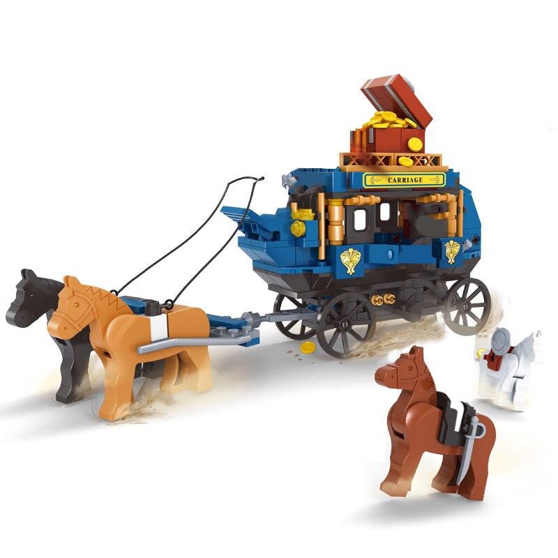 Ausini Horse Carriage Building Blocks Cowboy Knight Toys for Boys Mini Figures Bricks Warrior Battle Model Creator Children Toy
