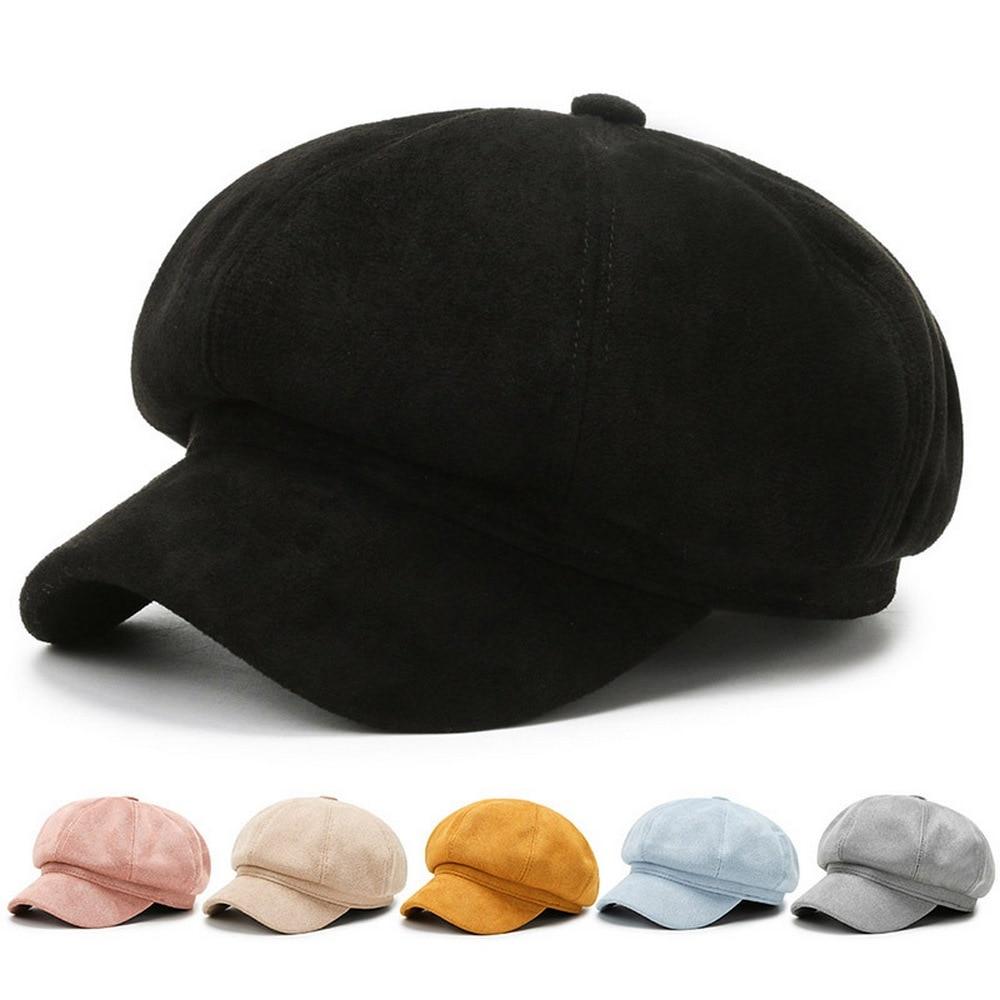 Осенне-зимние женские кепки газетчика Boina для женщин замшевая однотонная восьмиугольная шапка в минималистичном стиле для улицы BT0055