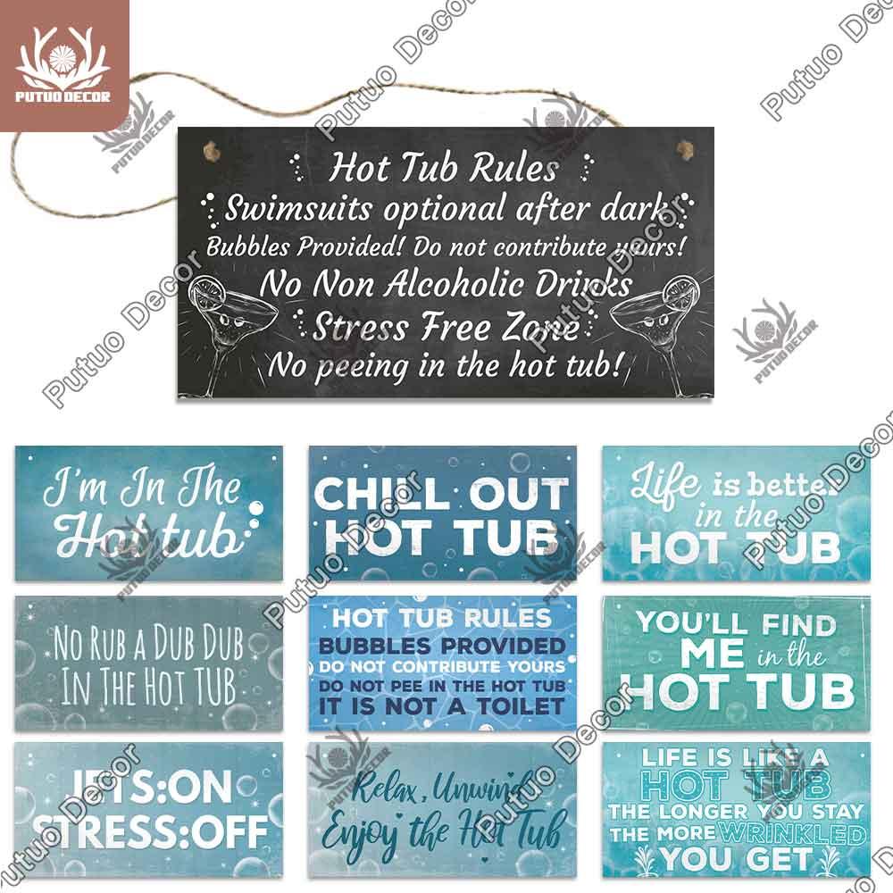 Putuo, letrero de madera para bañera de hidromasaje, placa decorativa de madera para pared, placa de madera para bañera de hidromasaje, decoración para el hogar, decoración para puerta de baño