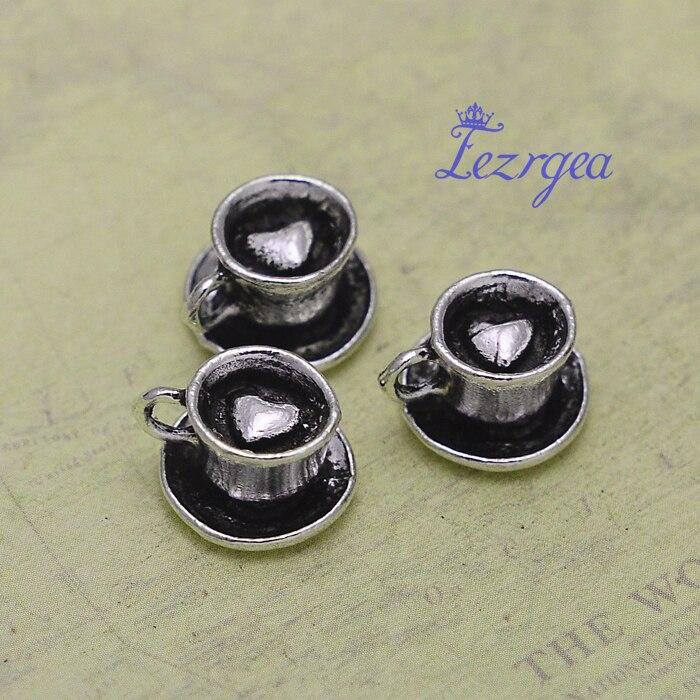20 pçs/lote -- 9x14mm, Coffee Cup chams, 3D Lindo Copo de Café encantos Antigo banhado a prata, material de BRICOLAGE, acessórios de Jóias