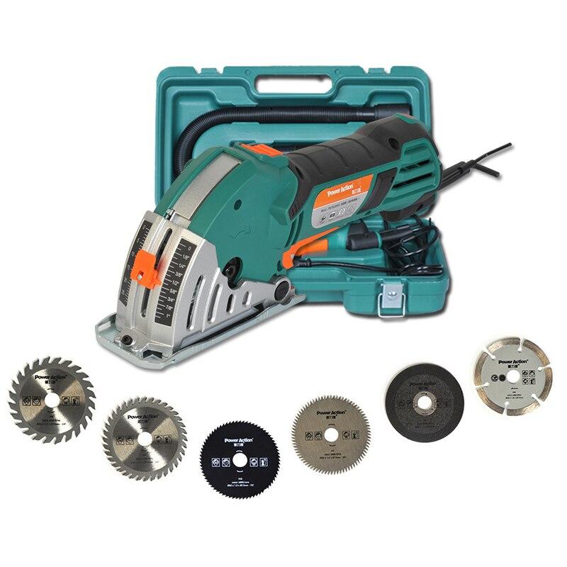Mini máquina de corte 500W herramientas eléctricas de carpintería rieles de azulejos de Metal sierra Circular motosierra máquina eléctrica cortadora de sierra
