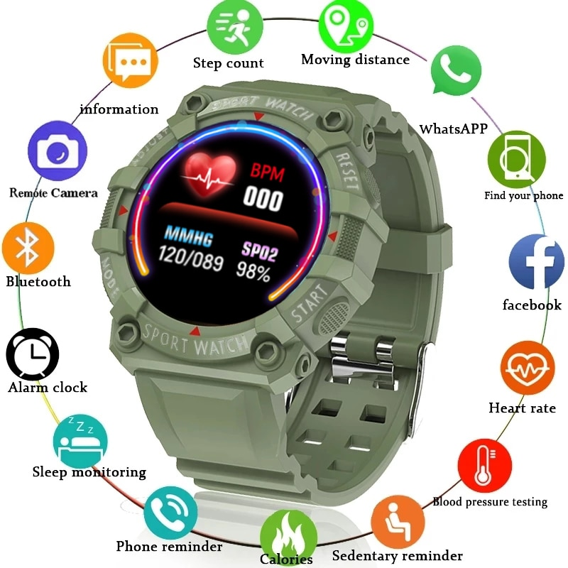 LIGE New Men Color Screen Smart Watch Fitness Tracking Smart Wristband Heart Rate Monitoring Waterpr