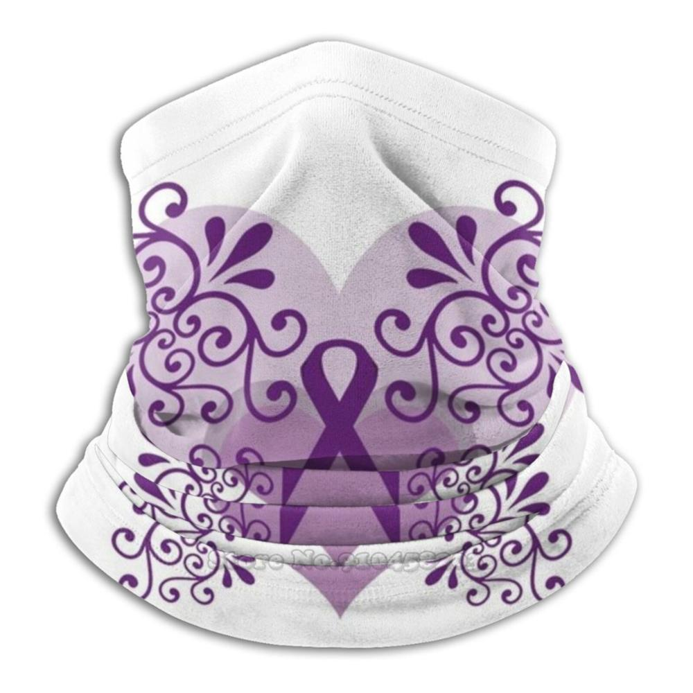 Purple Hearts Curls Ribbon : Fibromyalgia , Lupus , Alzheimer&#39 ; S , Spoonie 3D Bandana Face Neck Warmer Soft Fleece Mask