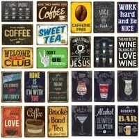 Plaque murale Vintage en metal pour le the et les bonbons  affiche damour  biere  vin  Pub  Bar  decor de maison  Restaurant  cafe  cafe  Club  YJ142