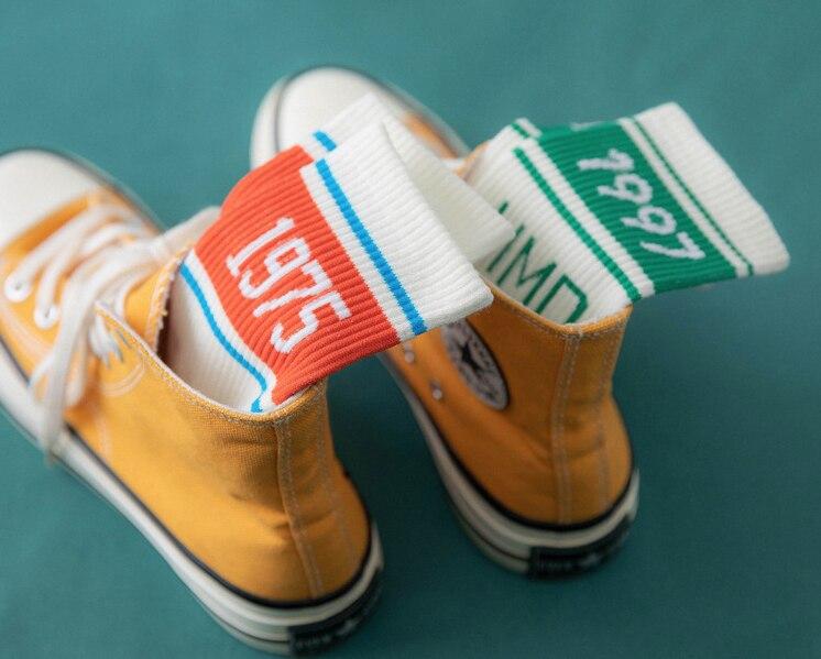 1 Pair Unisex Fashion High Hosiery Sock For Men Women OK Print Cool Sock Crew Sock Funny Cartoon Art Cotton Soft Socks