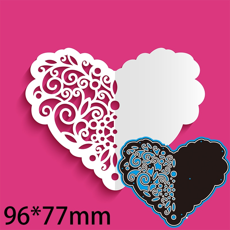 96*77mm Cutout Paper Heart with Swirly Pattern Cutting Dies DIY Scrap Booking Photo Album Embossing Paper Cards