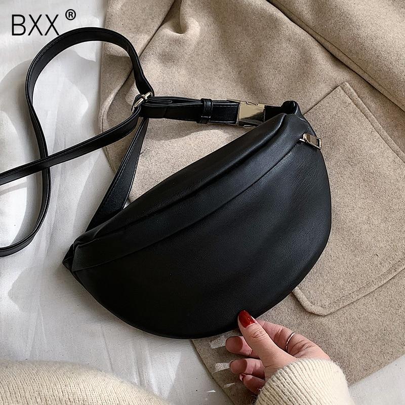 [BXX] Leather Solid Color chest waist Crossbody Bags For Women 2021 Simple Fashion Shoulder Messenger Bag Female Handbags HK383