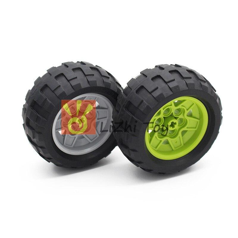 Blocos peças de técnica 56908 + 61480 68.7x34 r roda do pneu brinquedos educativos técnica carro construção a granel tijolo acessórios mecânicos