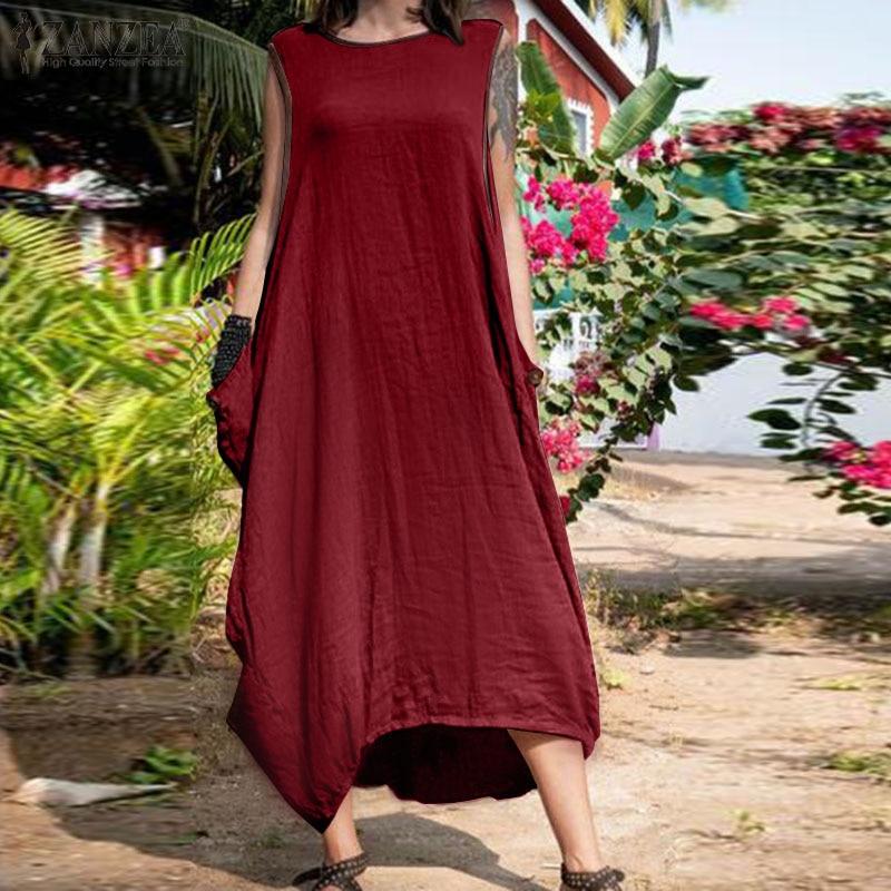 2020 verano sin mangas Sarafans ZANZEA Casual sólido Vestido mujeres Vintage algodón playa Vestido veraniego largo mujer Vestido Kaftan