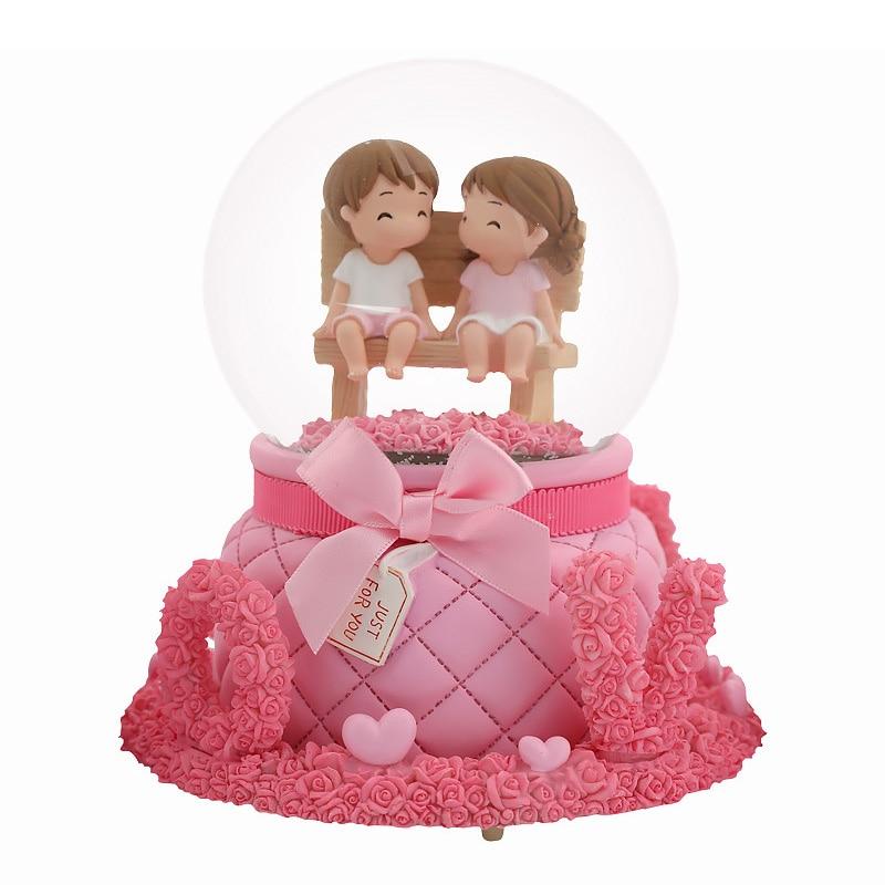 Romantic Love Rose Base Crystal Ball Wedding Decoration Figurines Home Decoration Crafts Boy Girl Music Box Resin Bedside Decor