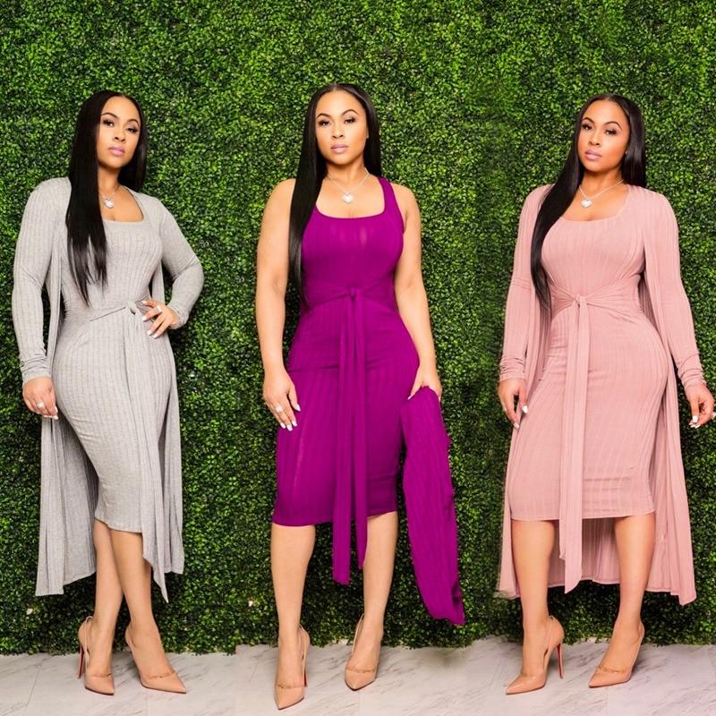 المرأة بلون محبوك أكمام طول الركبة فستان طويل عباءة قطعتين مجموعة