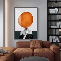 Toile de peinture moderne abstraite pour femme  ballon colore  a la mode  noir et blanc  affiche dart mural  image  decor de maison