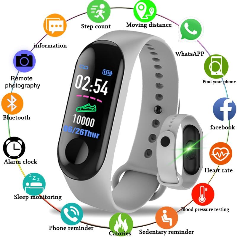 M3 Digital Band Fitness Tracker Smart Bracelet Heart Rate Monitor Watches Waterproof Sport Wristband For Men Women Smart Watch недорого