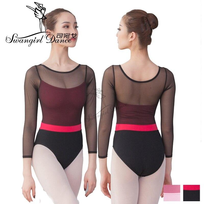 Mujeres de manga larga negro leotardo Ballet Dancewear algodón lycra monos leotardos Sexy gimnasia trajes Unitard CS0709
