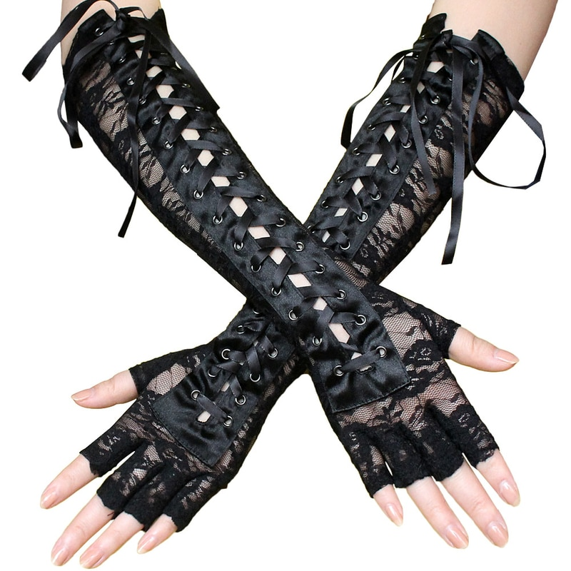 Helisopus Sexy Lace Long Gloves Winter Elbow Length Half-finger Gloves Ribbon Fingerless Fishnet Mesh Etiquette Party Gloves