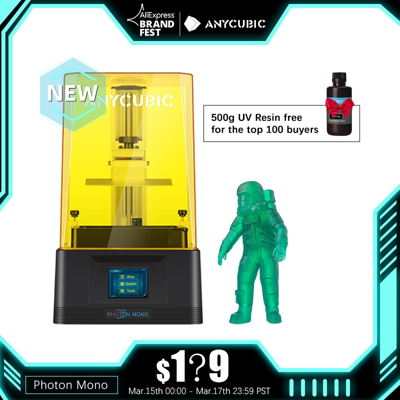 ANYCUBIC Photon Mono 3D Printer UV Resin Printers with 6 inch 2K Monochrome LCD Screen & Fast Printing Speed 130x80x165 mm